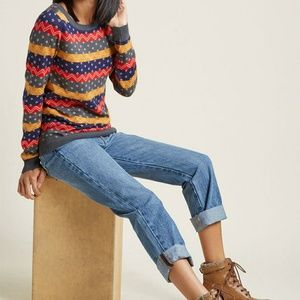 Modcloth Old School Knit Sweater Medium
